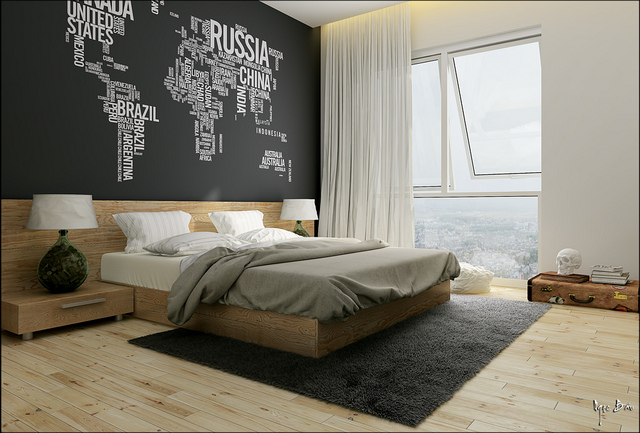 blog-8-Diseño-de-dormitorio-moderno-con-pared-de-letras recámaras por diseñadores