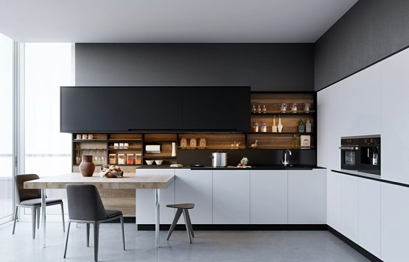 cocina moderna con estantes abiertos