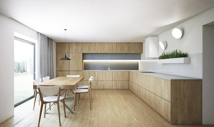cocinas de madera minimalista